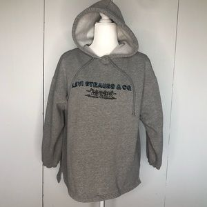 Levi's hoodie, Gray w/ horse & buggy logo, size S